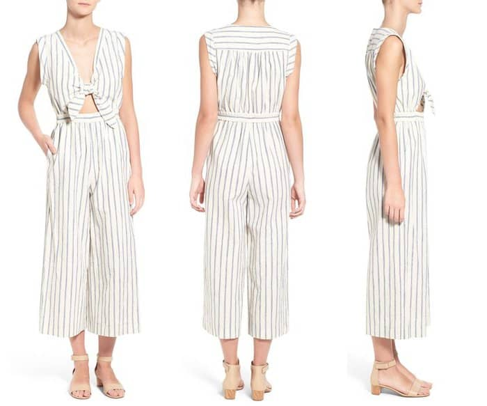 Madewell Ikat Stripe Tie Front Culotte Jumpsuit