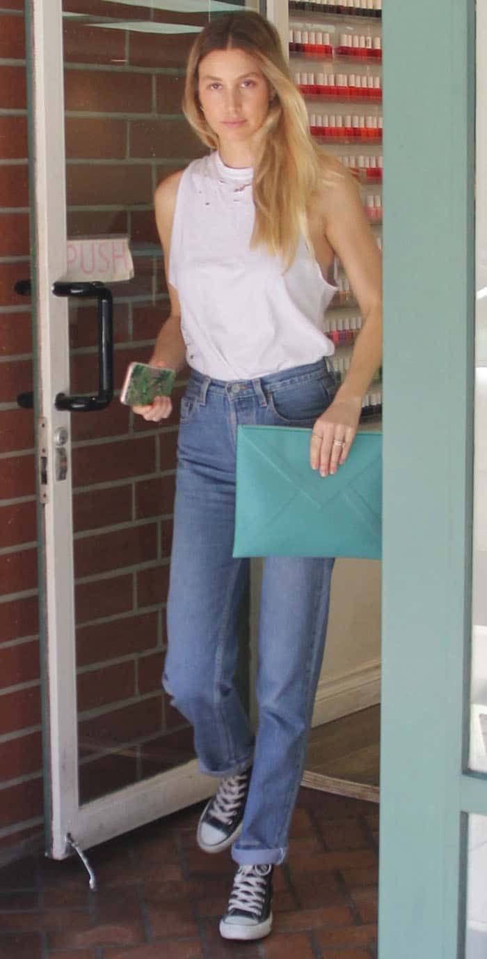 Whitney Port visits a nail salon in Beverly Hills