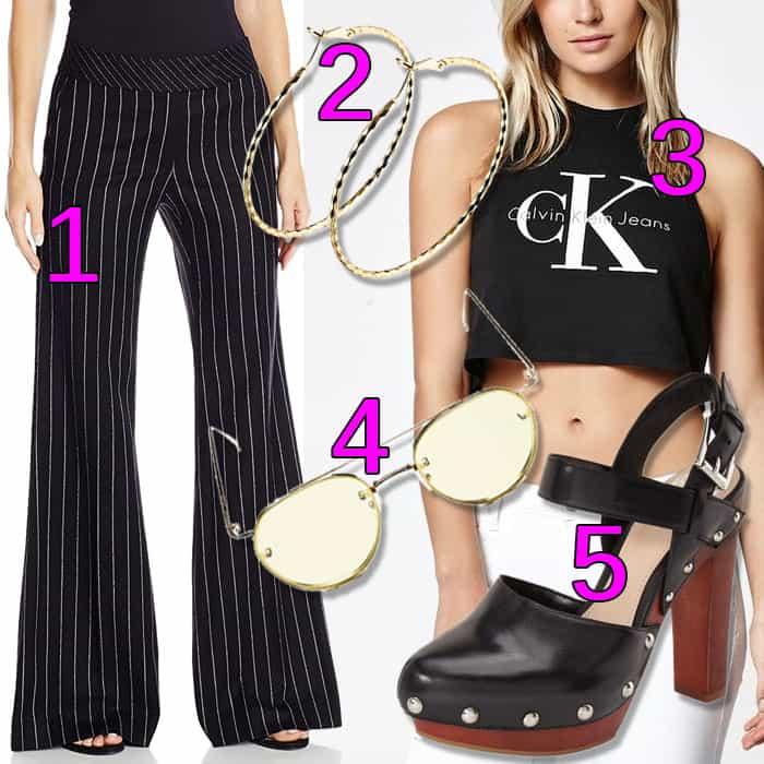 Get Vanessa Hudgens' CK Jeans crop tank and striped pants look.