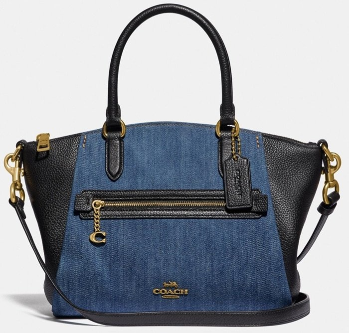 Coach Denim & Leather Blocked Elise Satchel