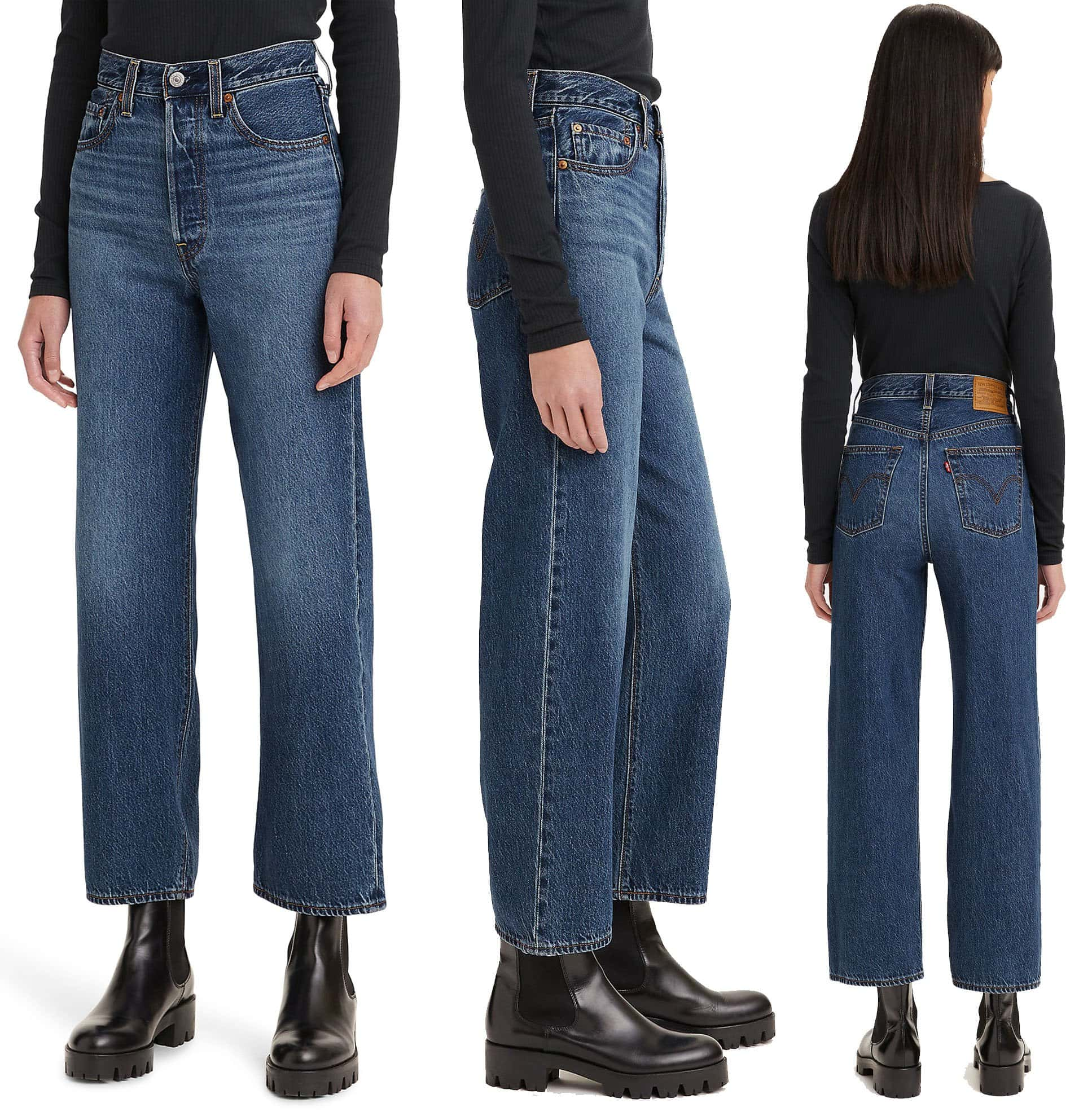 Available in several colorways, the Levi's Ribcage has 12-inch high-rise and an ankle-grazing straight-leg profile