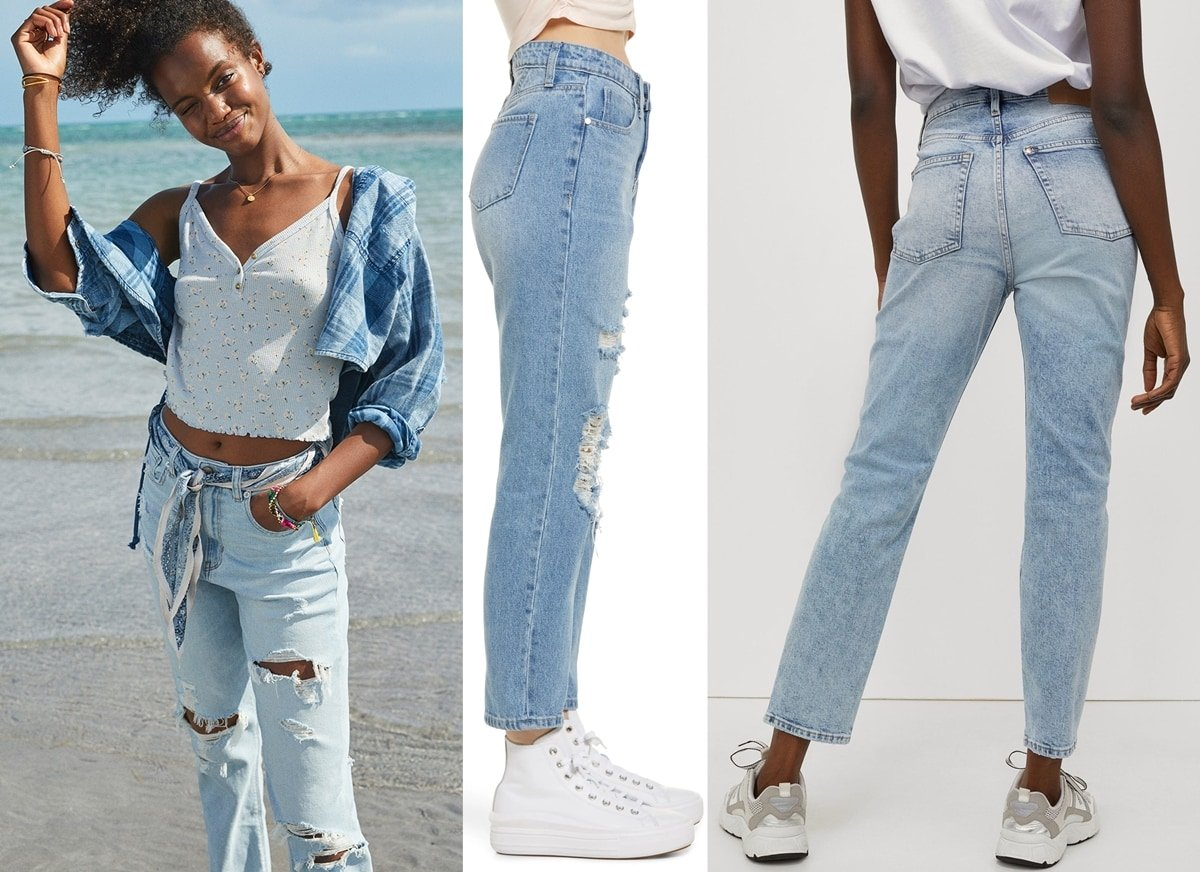 American Eagle stretch ripped high-waist mom jeans, old school BP. mom jeans, and H&M ankle-length mom jeans