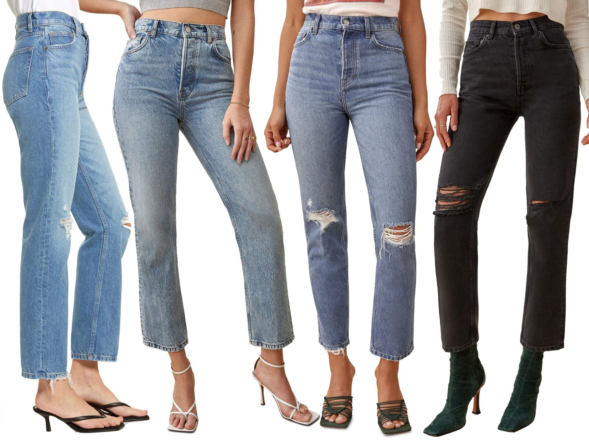 The Reformation Cynthia is a non-stretch fitted jeans with a high waist and a relaxed straight leg