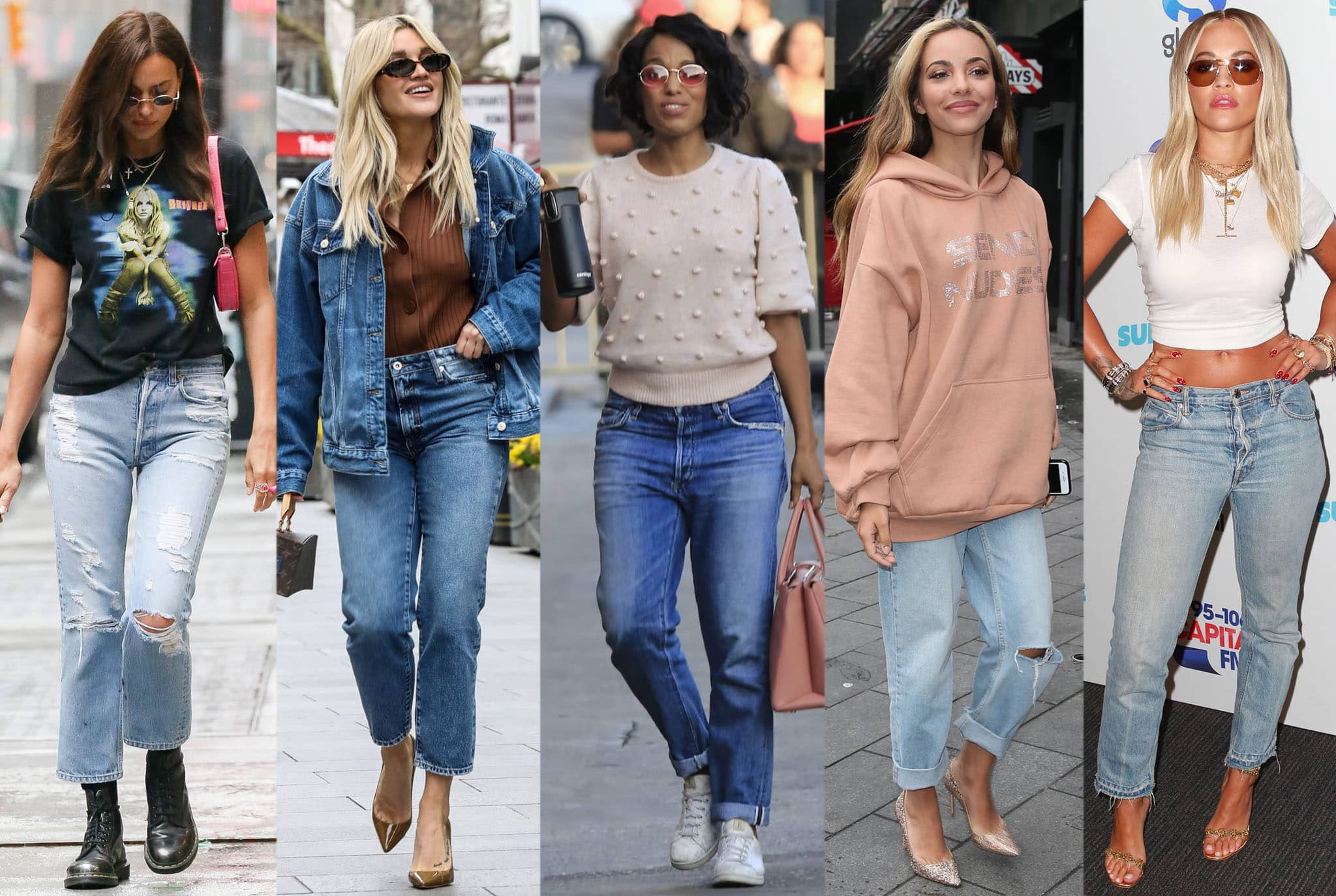 Irina Shayk, Ashley Roberts, Kerry Washington, Jade Thirlwall, and Rita Ora show how to style straight-leg jeans