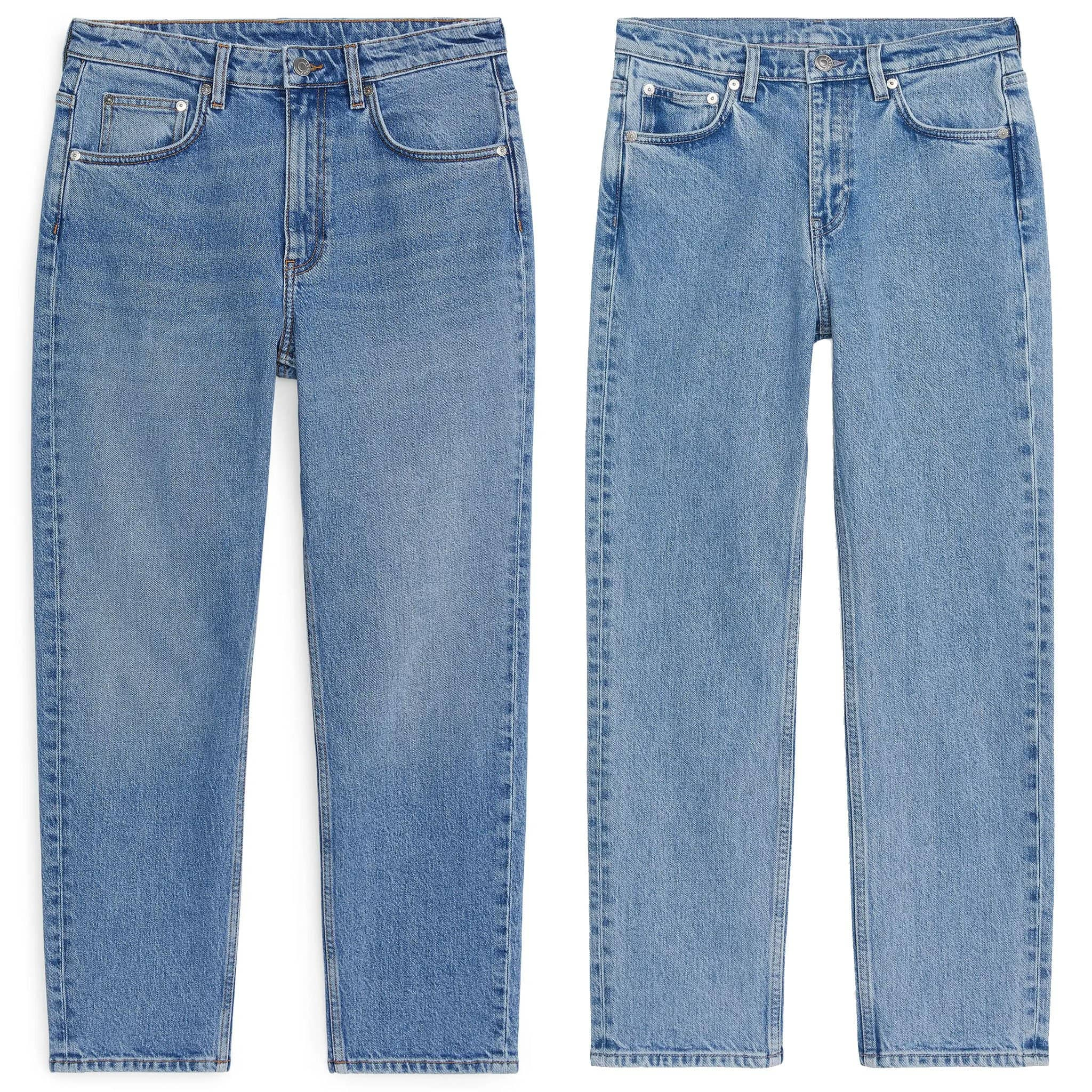 These are a classic pair of five-pocket mid-rise straight-leg jeans made from organic cotton