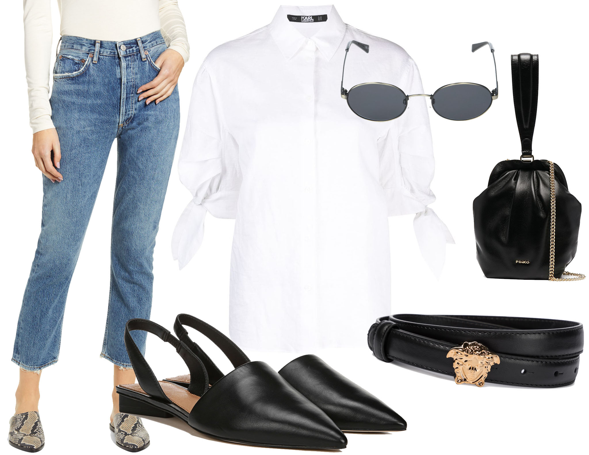 Agolde Riley high-waist crop straight-leg jeans, Karl Lagerfeld bow puff-sleeve shirt, Sarto by Franco Sarto pointed-toe slingback flats, VonZipper Scenario sunglasses, Pinko framed leather pouch bag, Versace Medusa leather belt
