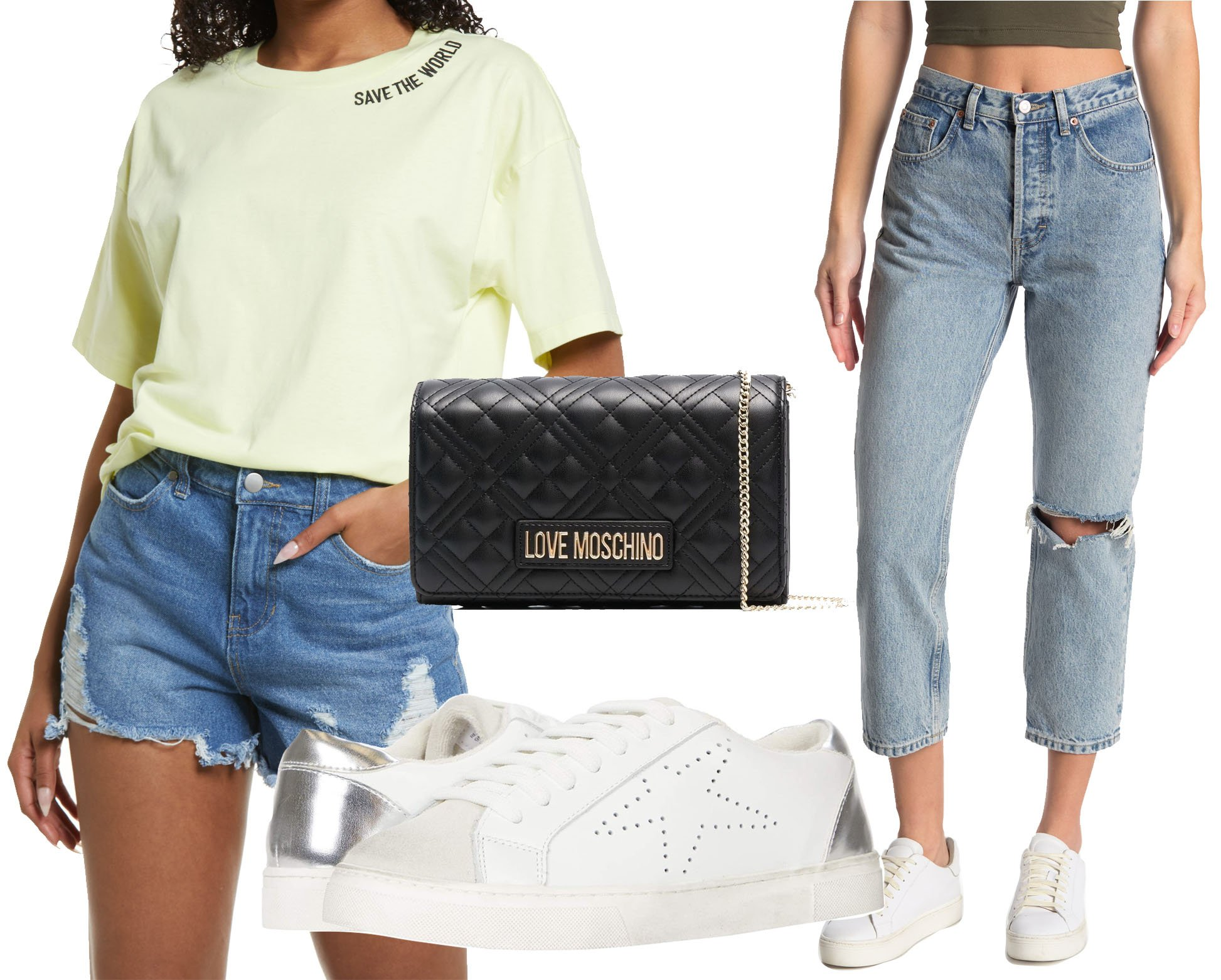 BP. knit oversize tee, Love Moschino quilted logo-plaque shoulder bag, Steve Madden Rezume sneakers, Topshop Premium straight-leg jeans