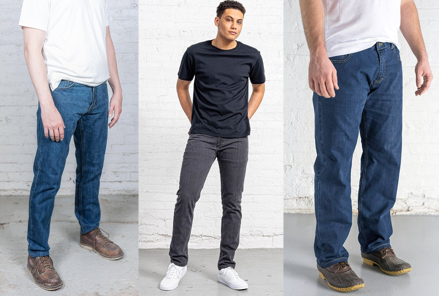 Dearborn Denim offers men's jeans in Tailored Fit, $65 - $70; Slim Fit, $65 - $75; and Relaxed Fit, $65 - $75