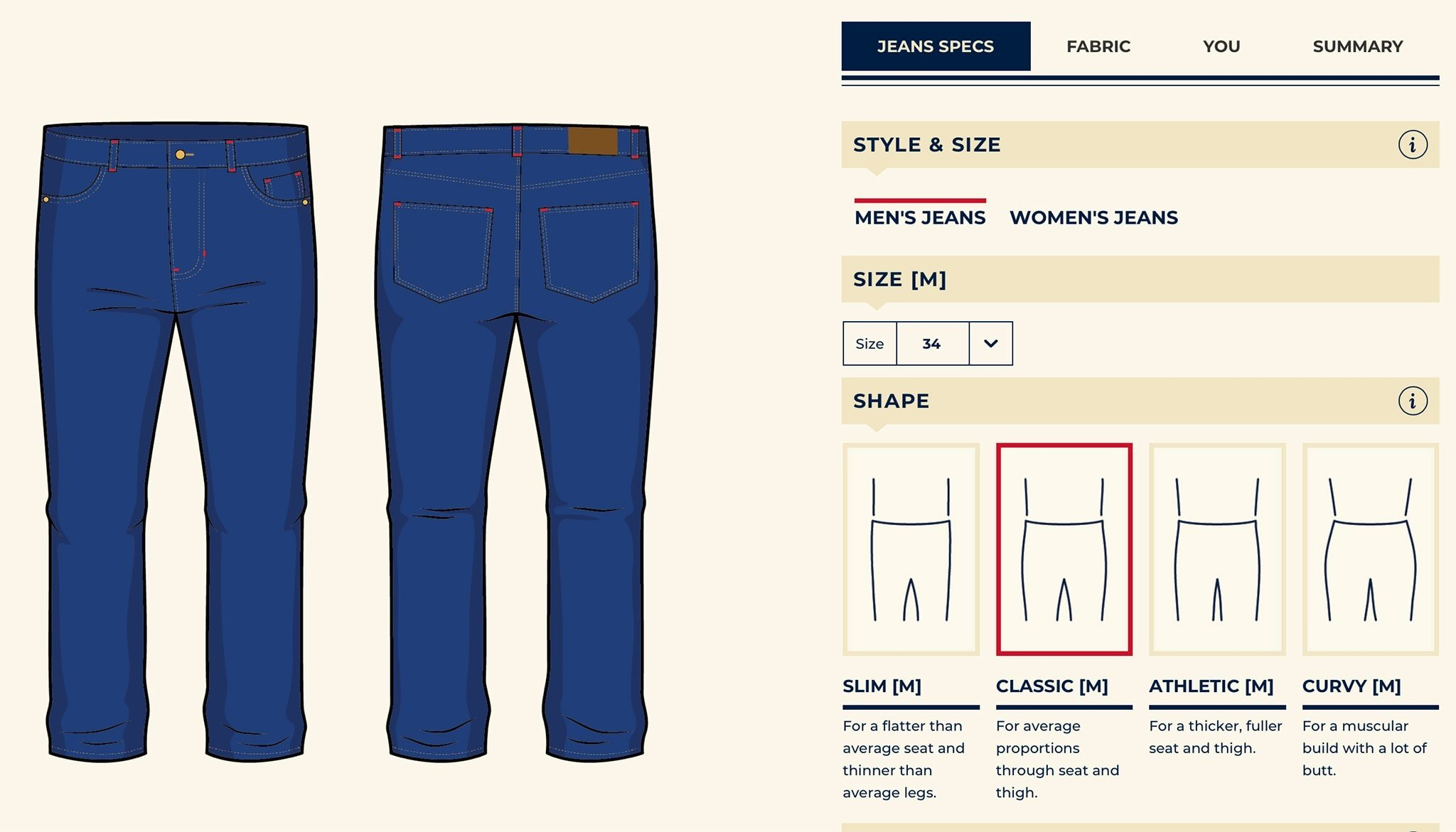 Detroit Denim Co. jeans are custom-made, from the fabric and cut to the inseam length and leg size