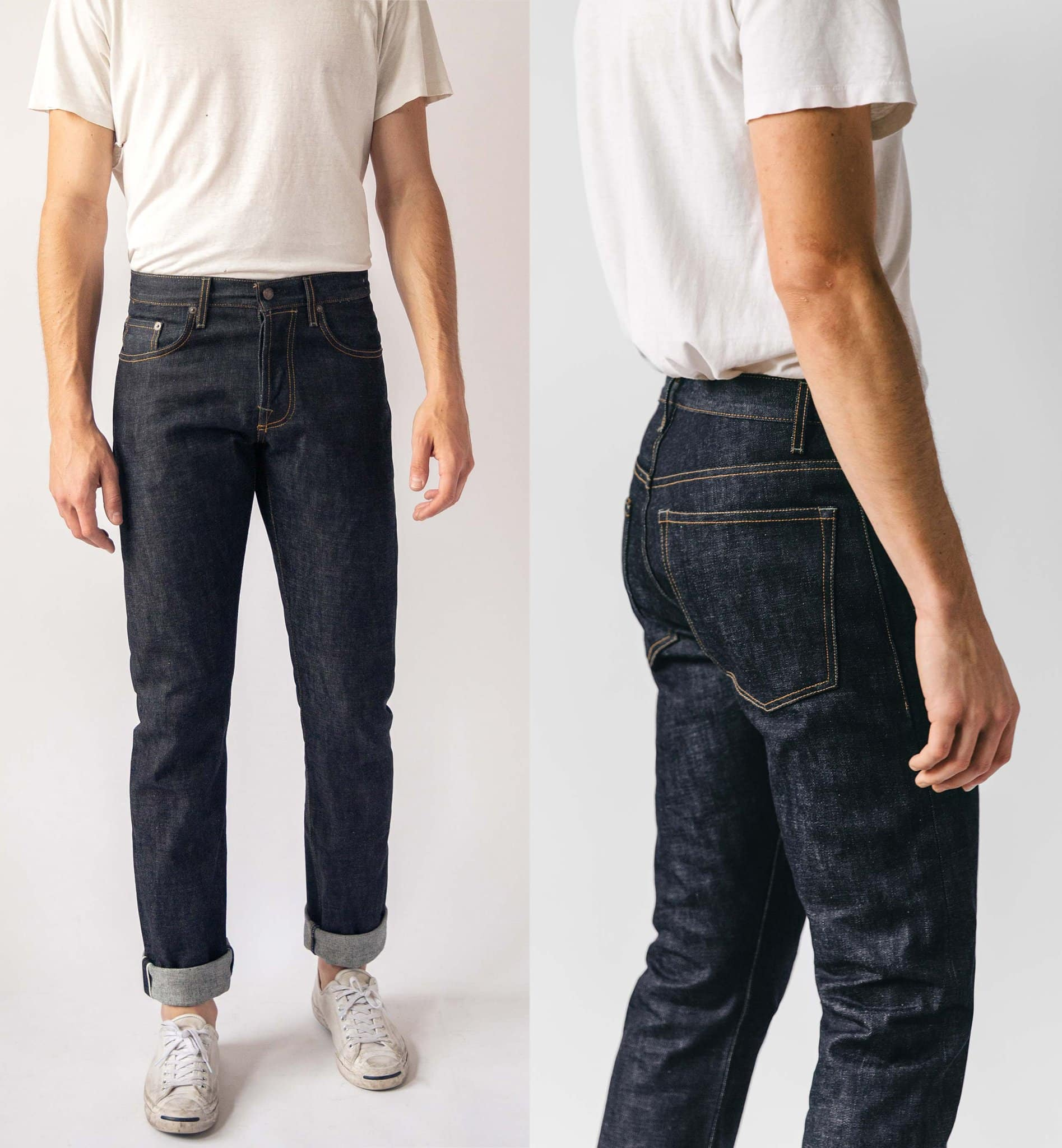 The Barton Slim Indigo Jp ($235) features an open weave fabric with a button-fly 5-pocket construction