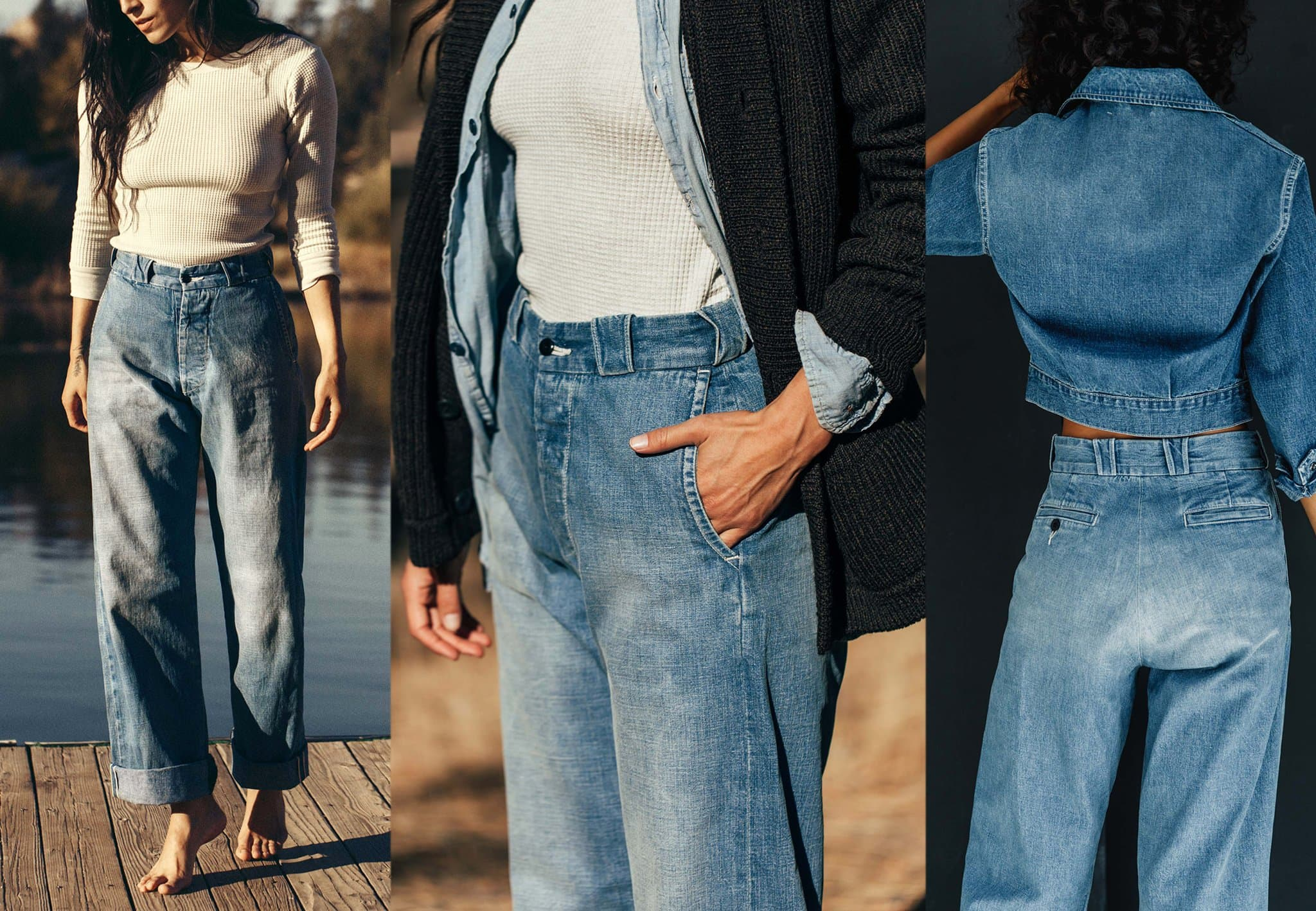 Inspired by old men's military chino, Kate Eames ($278) has that vintage look crafted from cotton with washed down indigo selvage fabric