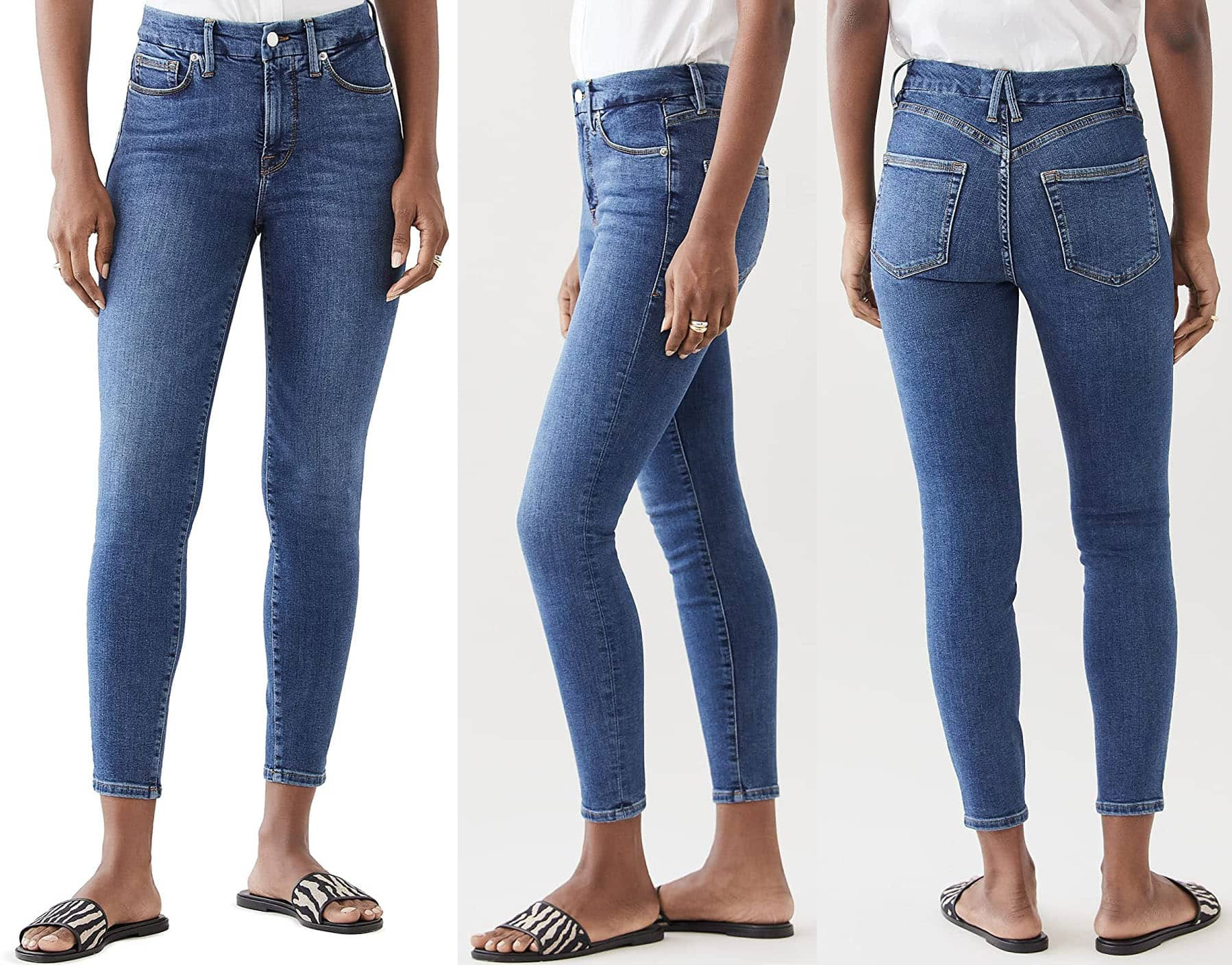 Good American's Good Legs Crop Extreme V is the ultimate skinny sculpting jean, featuring extra stretch, flat tummy tech, and a gap-proof waistband