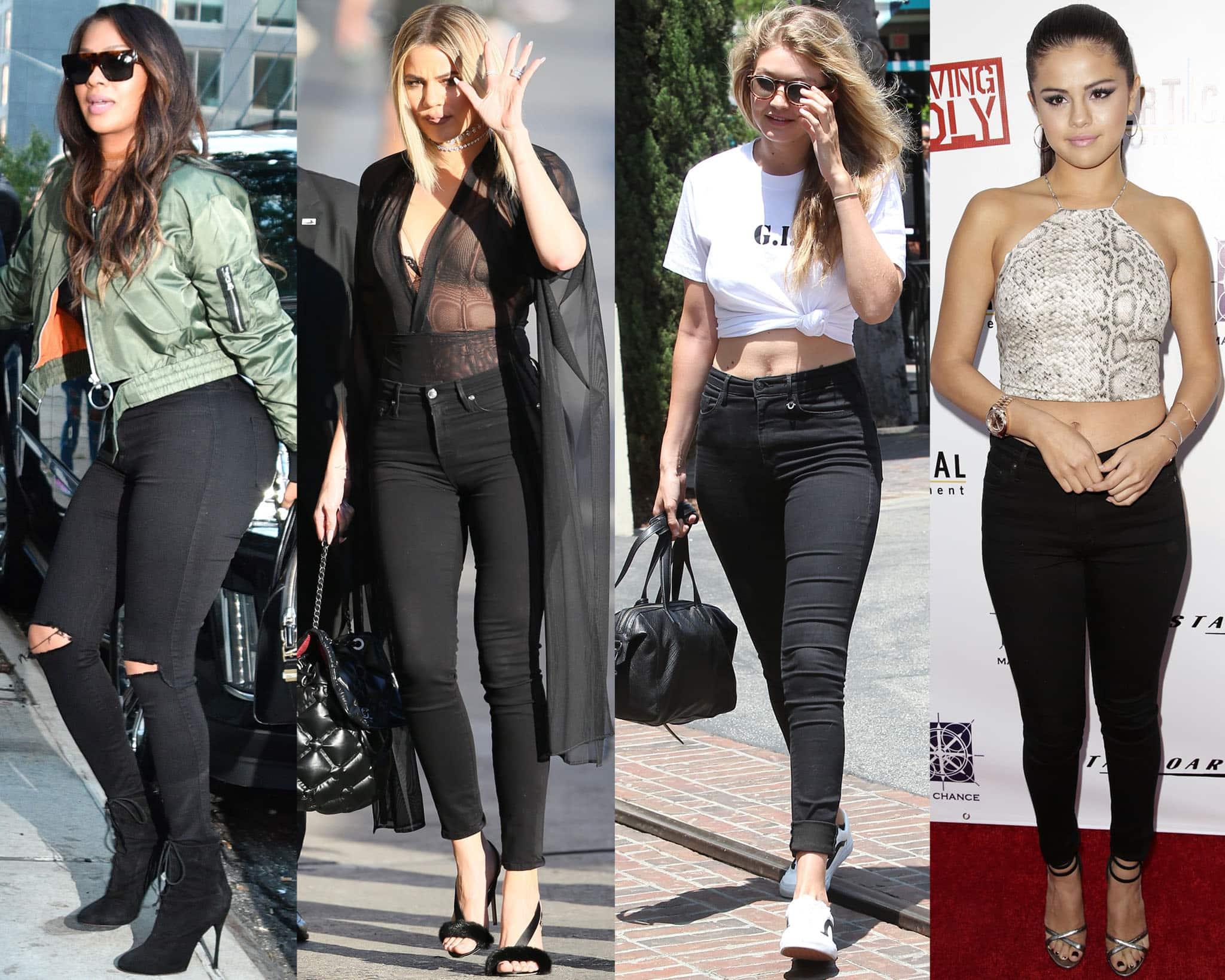 Kim Kardashian, Khloe Kardashian, Gigi Hadid, and Selena Gomez in black skinny jeans